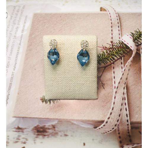 Blue Swaro Crystal  Stud Earrings 2007003