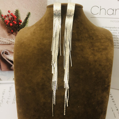 Long Silver  Tassel Earrings 201199