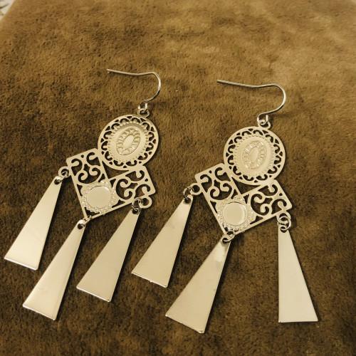 Glossy Silver Fan Plating Normcore Style Drop Earrings 2011135