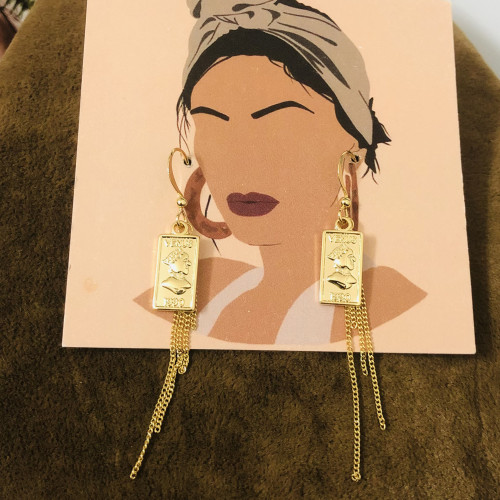 Glossy Gold Queen's Head Coins  Plating Normcore Style Drop Earrings 2011140