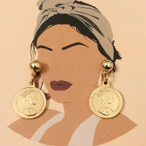 Copper Queen's Head Coins  Plating Normcore Style Drop Earrings 2011136
