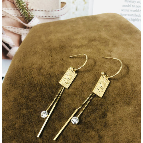Glossy Gold Queen's Head Coins Plating Normcore Style Drop Earrings 2011141