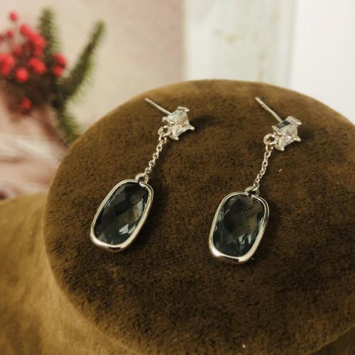 Grey Swaro Crystal Dangle Earrings 2006076
