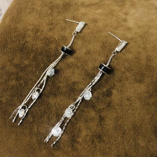 Silver Plating Normcore Style Tassel Earrings 2011131