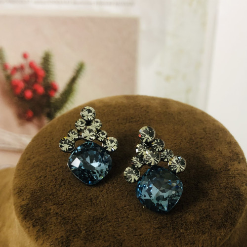 Blue Swaro Crystal  Stud Earrings 2007004