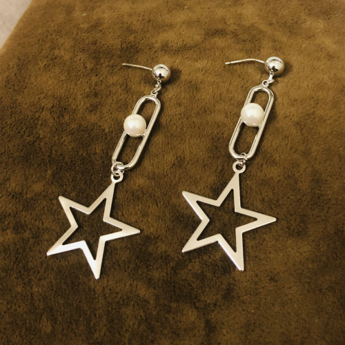 Glossy Silver Star Plating Normcore Style Drop Earrings 2011129