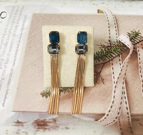 Blue Swaro Crystal Tassel Earrings 2006055