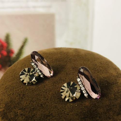 Purple Swaro Crystal Stud Earrings 2011147