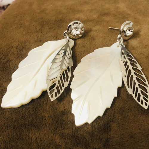 Silver Shell  Plating Normcore Style Drop Earrings 2011116