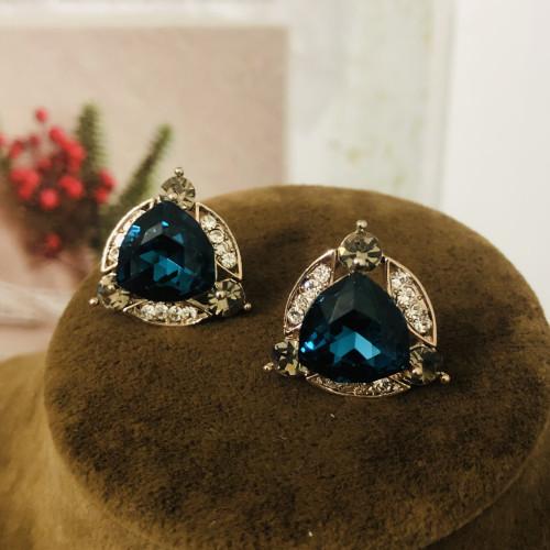 Blue Swaro Crystal  Stud Earrings 2007005