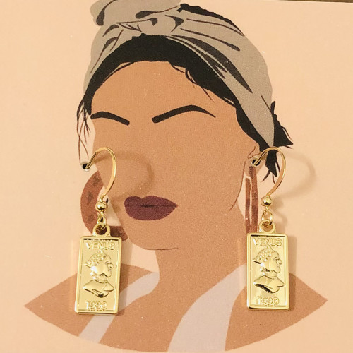 Glossy Gold Plating Normcore Style Drop Earrings 2011142