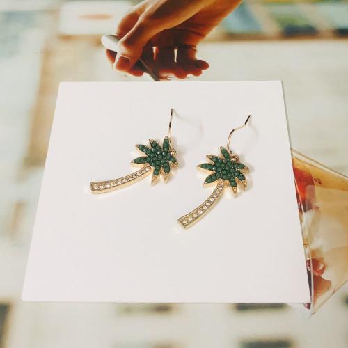 Coconut Tree of Green Beads Fashion Style Drop Earrings 2011162