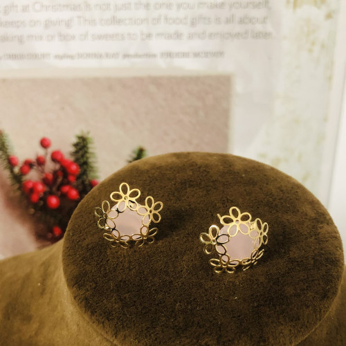 Gold 5 Petals Flower and Pink Crystal Fashion Style Stud Earrings 2011169