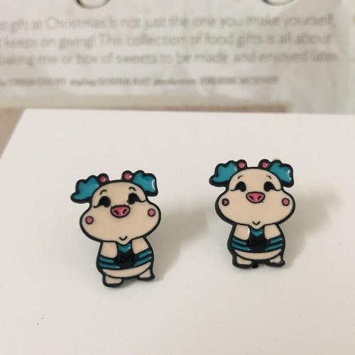 Color Pig Stud Earrings 2006107