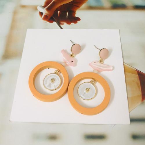 Orange Bird of Wood Drop Earrings 2006093
