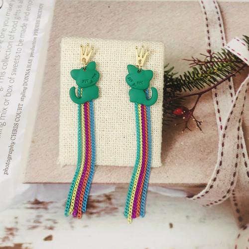 Green Cat of Color Tassel Earrings 2006142