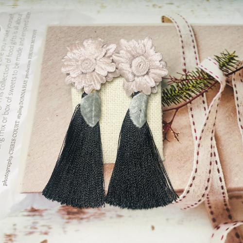 Pink Flower with Black Woolen Yarn Tassel Earrings  201028