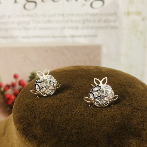 Silver 3 Petals Flower and Zircon Fashion Style Stud Earrings 2011171