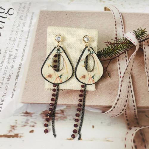 Black Wood Tassel Earrings  201024