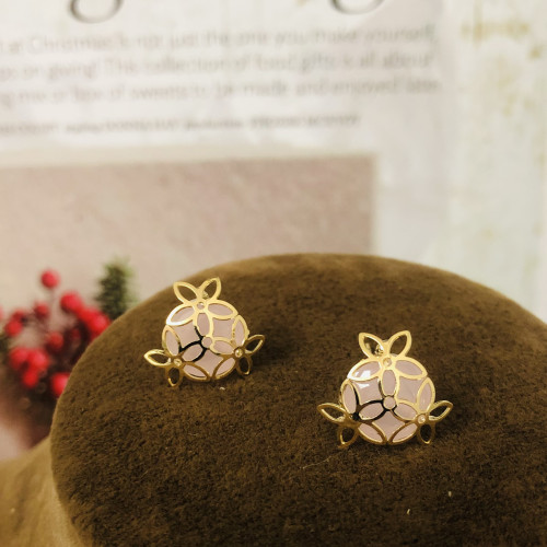Gold 3 Petals Flower and Pink Crystal Fashion Style Stud Earrings 2011173