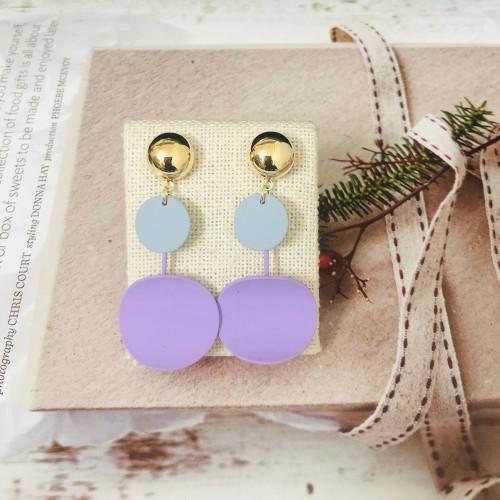 Purple Round Fashion Style Drop Earrings 2011167