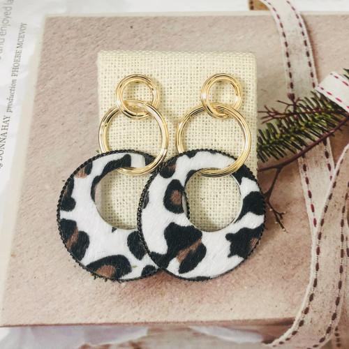 Black Geometric of Leopard Print  Drop Earrings 201016