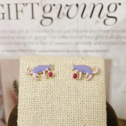 Purple Cat Plays Ball of Enameled Fashion Style Stud Earrings 2011174