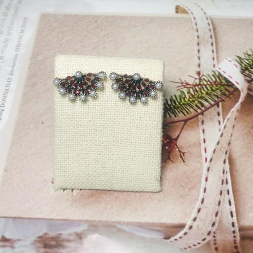 Red Fan of Crystal Vintage Style Drop Earrings 2011227