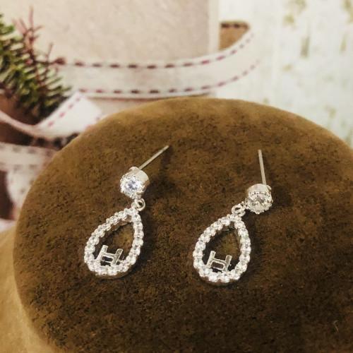 Silver H Zircon Microscope Simple Style Stud Earrings 2011206