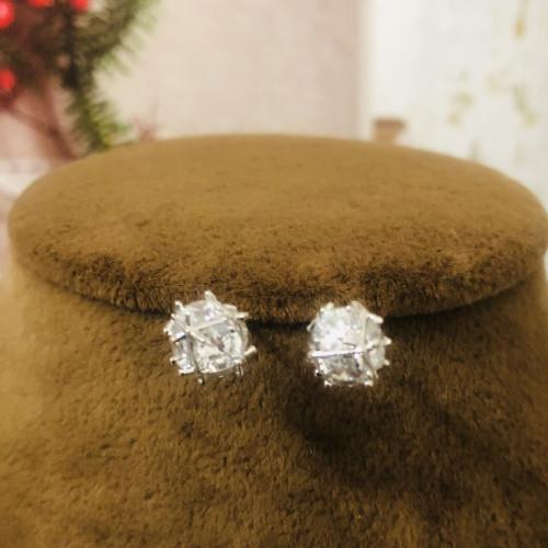 Silver Zircon Microscope Simple Style Stud Earrings 2011203