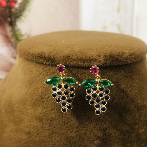 Grape of Crystal Fashion Style Stud Earrings 2011210