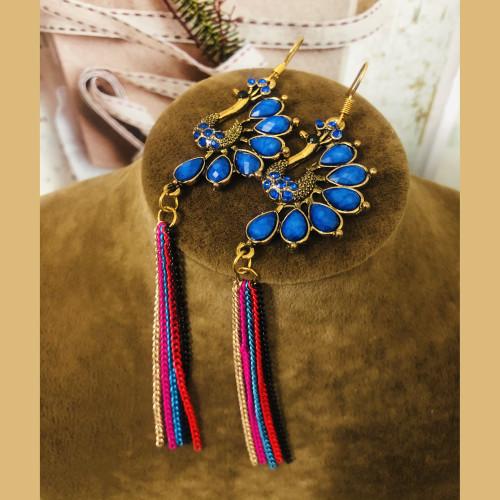 Blue Peacock of Huge Heavy Style Drop Earrings 2011231
