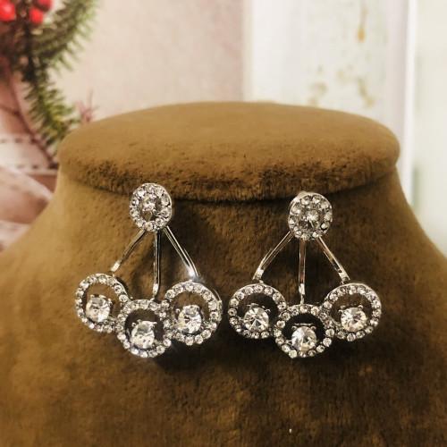 Silver Zircon Microscope Simple Style Stud Earrings 2011207
