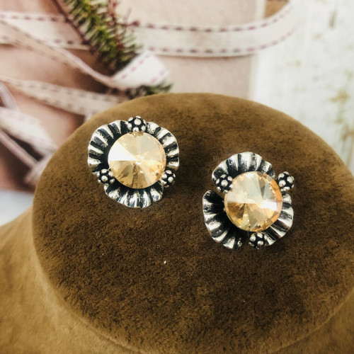 Yellow Flower of Crystal Fashion Style Stud Earrings 2011211