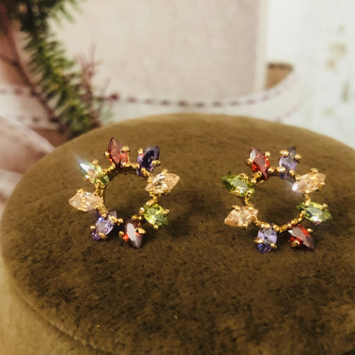 Color Flower of Zircon Microscope Simple Style Stud Earrings 2011194
