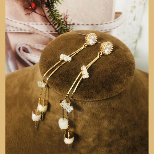 Gold Zircon Microscope Simple Style Tassel Earrings 2011181