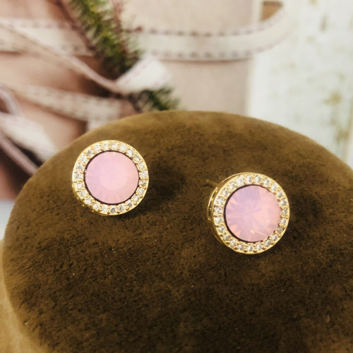 Pink Austrian Crystal Fashion Style Stud Earrings 2011213