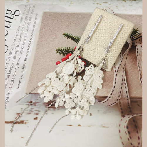 White Lace Tassel Earrings 201021
