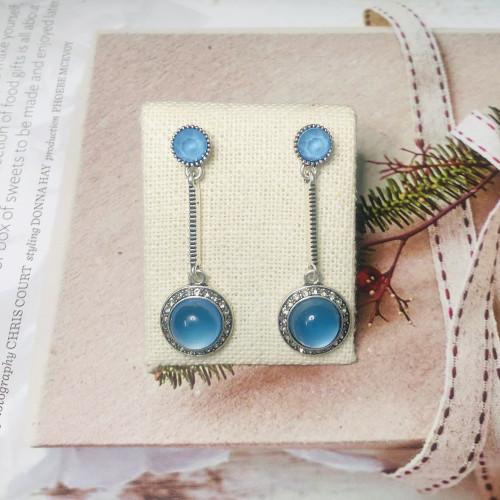 Blue Opal Vintage Style Drop Earrings 2011222