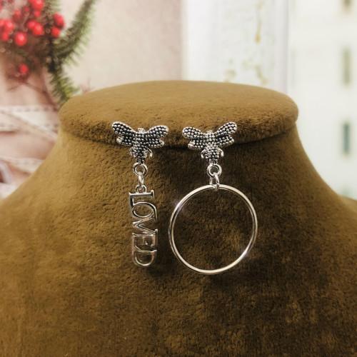 Silver Bee of Zircon Microscope Simple Style Stud Earrings 2011208