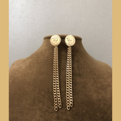 Copper Queen's Head Coins Plating Normcore Style Tassel Earrings 201196