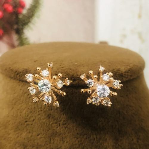 Gold Fireworks of Zircon Microscope Simple Style Stud Earrings 2011197