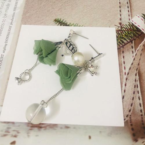 Green Flower Fashion Style Drop Earrings 2011214