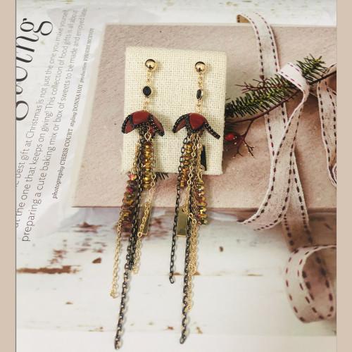Red Leather Tassel Earrings  201023