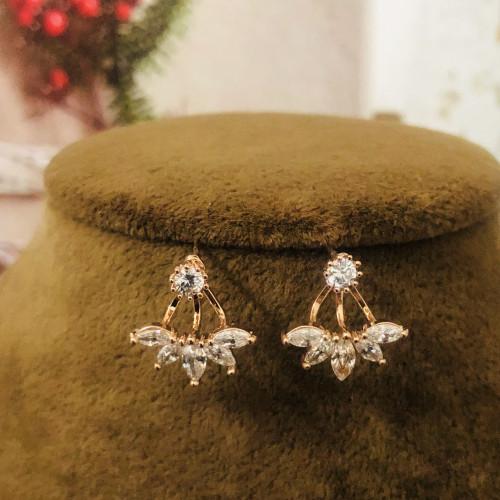 Gold Zircon Microscope Simple Style Stud Earrings 2011205