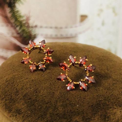 Red Flower of Zircon Microscope Simple Style Stud Earrings 2011193
