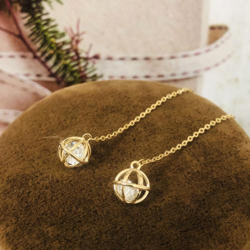 Gold Zircon Microscope Simple Style Line Earrings 2011182