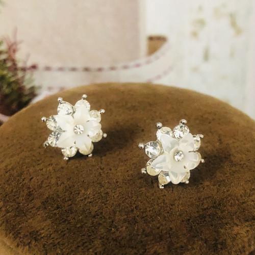 Silver Flower of Zircon Microscope Simple Style Stud Earrings 2011189