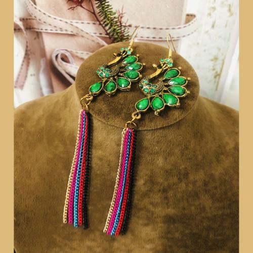 Green Peacock of Huge Heavy Style Drop Earrings 2011229