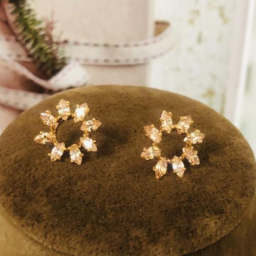 Gold Flower of Zircon Microscope Simple Style Stud Earrings 2011192